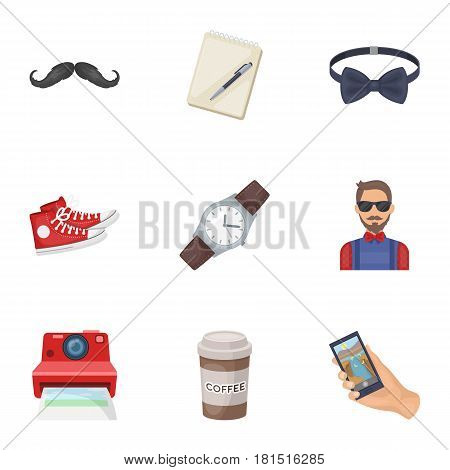 A set of icons about the style of a hipster. A peculiar youth style. Hipster style icon in set collection on cartoon style vector symbol stock web illustration.
