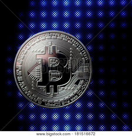 Silver Bitcoin Coin On The Blue Floor