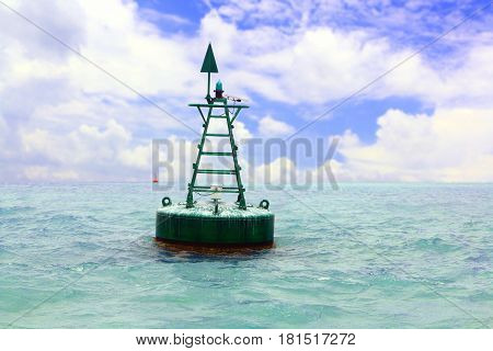 Floating navigational buoy in open sea