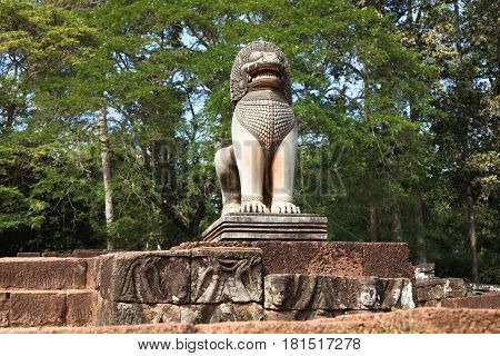 Lion sculpture in Ankor Thom. UNESCO world heritage. Angkor Wat Cambodia.