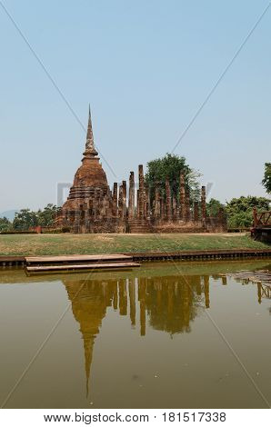 Ancient ruin in Thailand. The temple named Wat Sa si part of Sukhothai historical park ancient kingdom in thirteenth centuries.