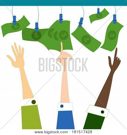 Hand reaching and pointing toward the money. Vector cartoon illustration.