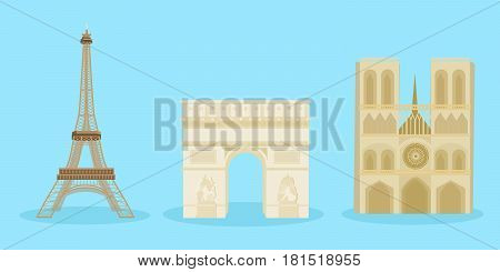 cute cartoon french building on blue background