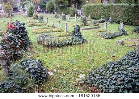 ZAGREB, CROATIA - OCTOBER 10: Jewish section of the cemetery at Mirogoj cemetery in Zagreb, Croatia on October 10, 2015.