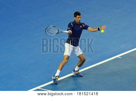 MELBOURNE, AUSTRALIA - JANUARY 28, 2016: Grand Slam Champion Novak Djokovic of Serbia in action during his Australian Open 2016 semifinal match at Rod Laver Arena in Melbourne Park