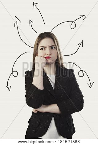 business young woman think emotion arrows portrait