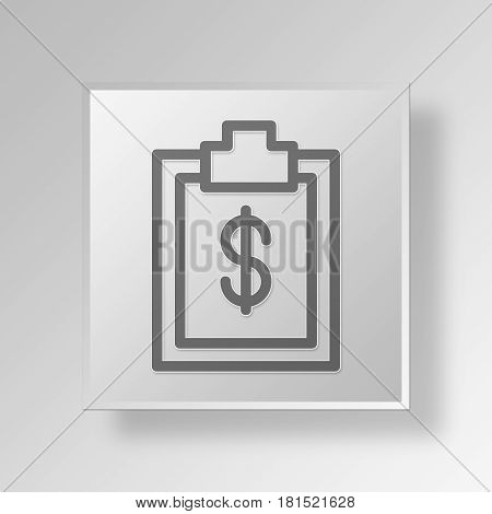 3D Symbol Gray Square Business record icon Business Concept