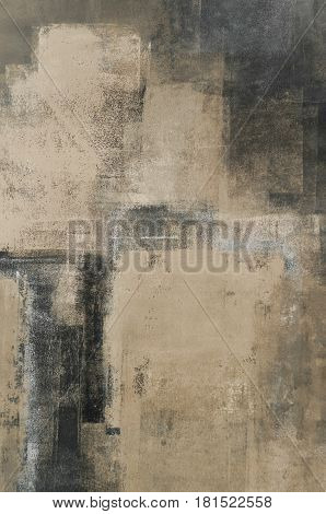 Modern neutral abstract painting with simple lines and texture.