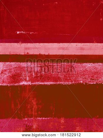 Modern red abstract painting with simple lines and texture.