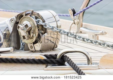 Yachting, Black Rope And Chain On Sailboat, Details Of Yacht