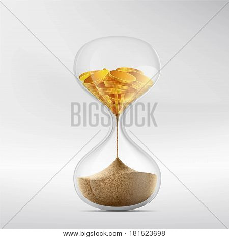 Hourglass with sand and gold coins. Stock vector illustration.