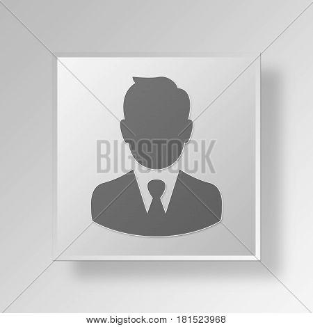 3D Symbol Gray Square Businessman icon Business Concept