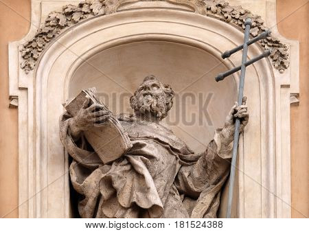 ROME, ITALY - SEPTEMBER 05: Statue of Saint Felix of Valois on facade of Santissima Trinita degli Spagnoli Church in Rome, Italy on September 05, 2016.