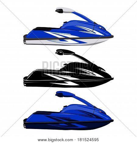 Set jet ski, scooter on a white background