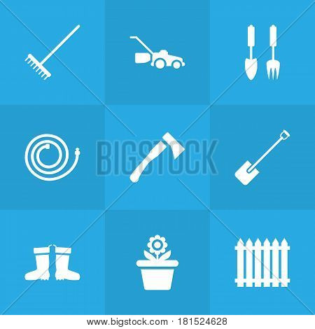 Set Of 9 Horticulture Icons Set.Collection Of Tools, Fence, Rake And Other Elements.
