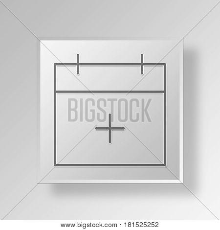 3D Symbol Gray Square Calendar icon Business Concept