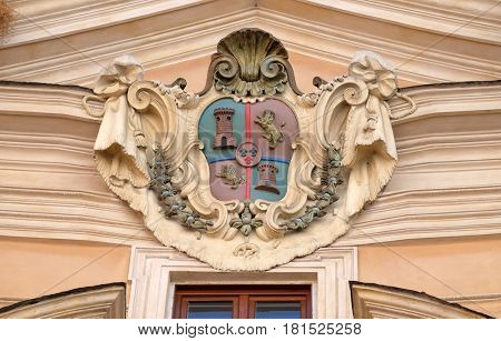 ROME, ITALY - SEPTEMBER 05: Coat of arms of Castile and Leon on facade of Santissima Trinita degli Spagnoli Church in Rome, Italy on September 05, 2016.