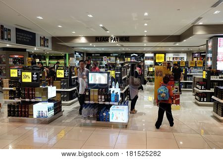 ABU DHABI, UNITED ARAB EMIRATES - FEBRUARY 06: Abu Dhabi airport duty free. Abu Dhabi airport is one of the most visited airports in the Middle East, on February 06, 2016.