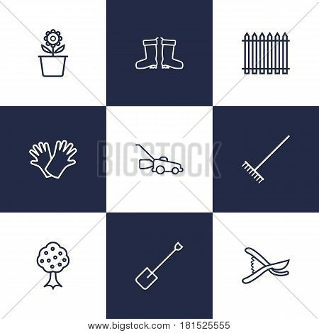 Set Of 9 Farm Outline Icons Set.Collection Of Waterproof Shoes, Harrow, Plant Pot And Other Elements.
