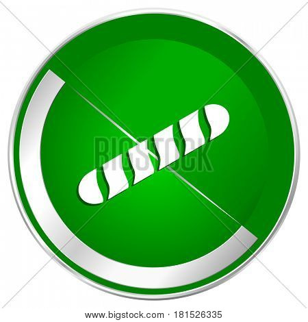 Baguette silver metallic border green web icon for mobile apps and internet.