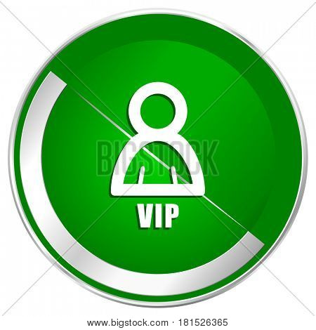 Vip silver metallic border green web icon for mobile apps and internet.