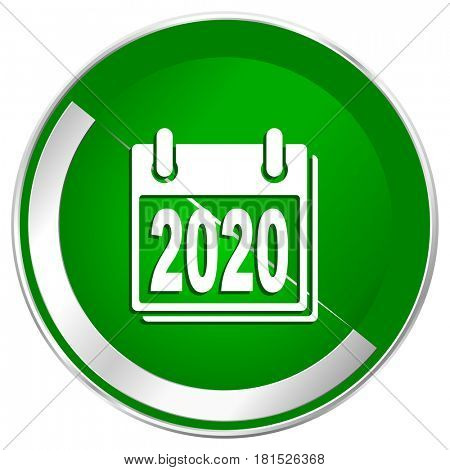 New year 2020 silver metallic border green web icon for mobile apps and internet.