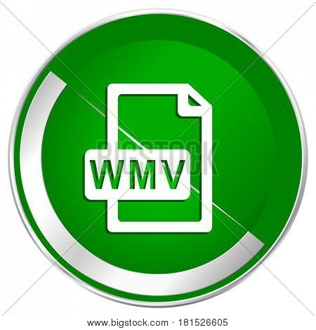 Wmv file silver metallic border green web icon for mobile apps and internet.