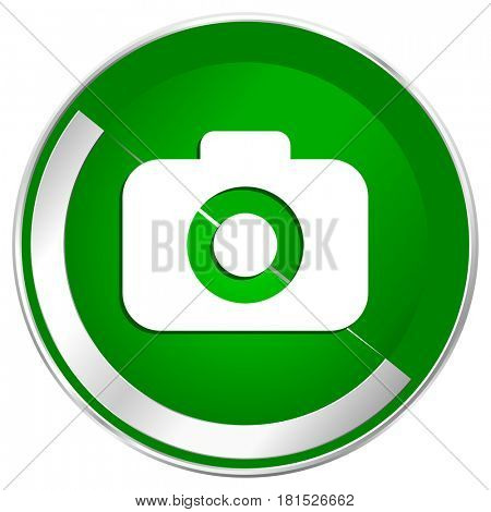 Photo camera silver metallic border green web icon for mobile apps and internet.