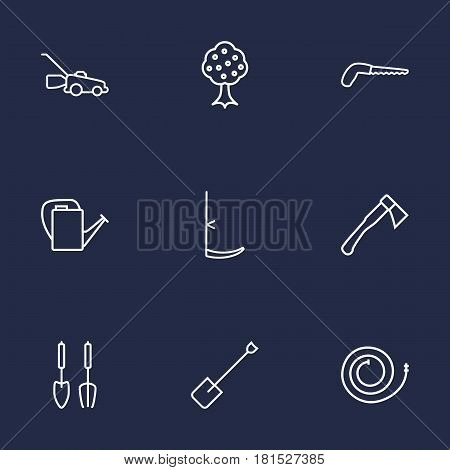 Set Of 9 Horticulture Outline Icons Set.Collection Of Arm-Cutter, Scythe, Hatchet And Other Elements.