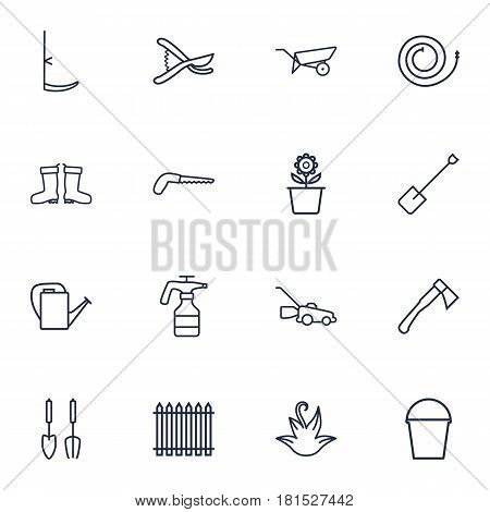 Set Of 16 Farm Outline Icons Set.Collection Of Hatchet, Waterproof Shoes, Firehose And Other Elements.