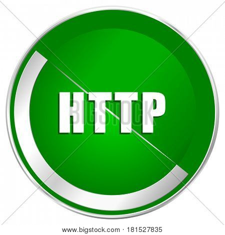Http silver metallic border green web icon for mobile apps and internet.