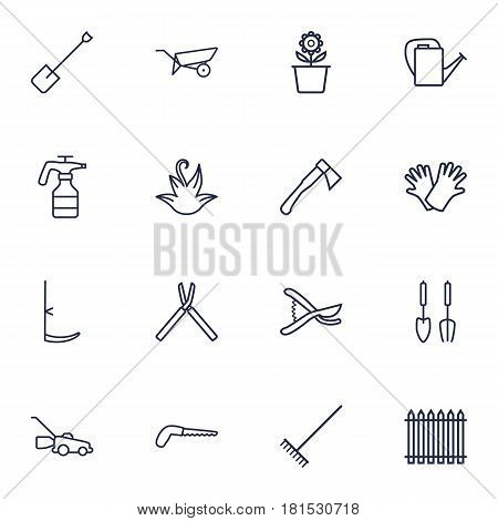 Set Of 16 Farm Outline Icons Set.Collection Of Arm-Cutter, Safer Of Hand , Spade Elements.