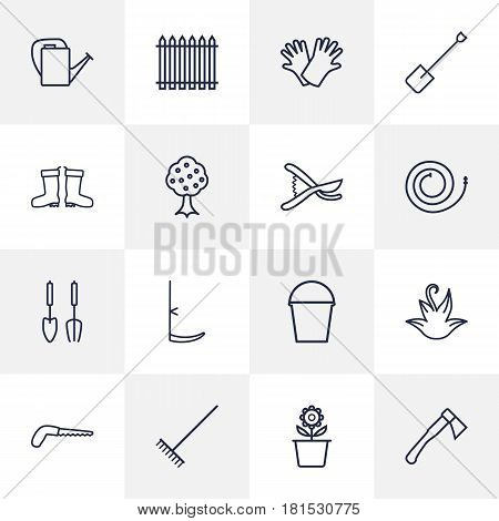 Set Of 16 Horticulture Outline Icons Set.Collection Of Arm-Cutter, Hatchet, Plant Pot And Other Elements.