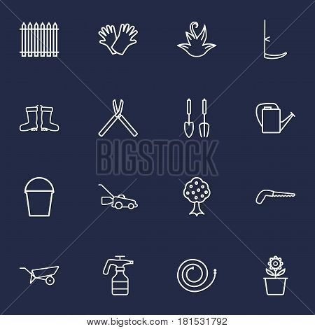 Set Of 16 Household Outline Icons Set.Collection Of Shears, Firehose, Barrow And Other Elements.