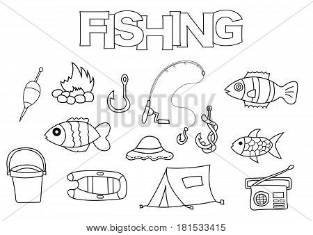 Fishing elements hand drawn set. Coloring book template.  Outline doodle elements vector illustration. Kids game page.