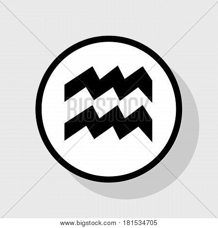 Aquarius sign illustration. Vector. Flat black icon in white circle with shadow at gray background.