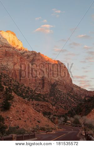 view of nice giant rock in Zion  national park