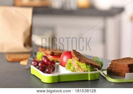 Sandwich for school lunch on table