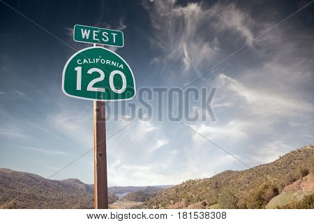 120 california traffic sign on dark blue sky back