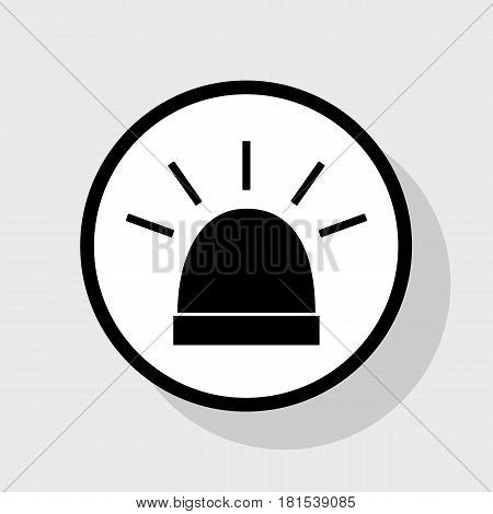 Police single sign. Vector. Flat black icon in white circle with shadow at gray background.