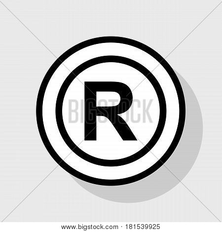 Registered Trademark sign. Vector. Flat black icon in white circle with shadow at gray background.