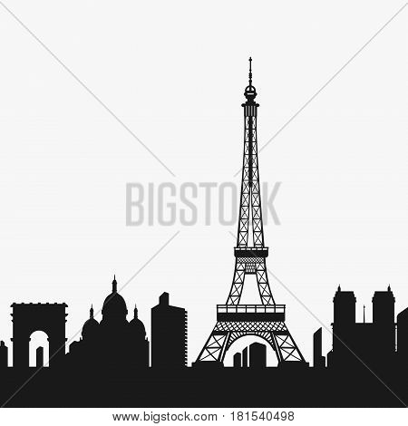 Vector Silhouette of the Eiffel Tower and Paris