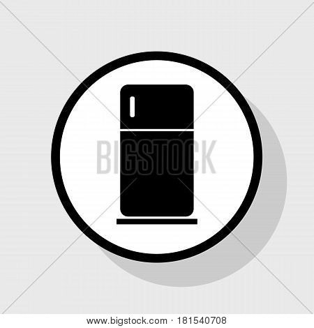 Refrigerator sign illustration. Vector. Flat black icon in white circle with shadow at gray background.