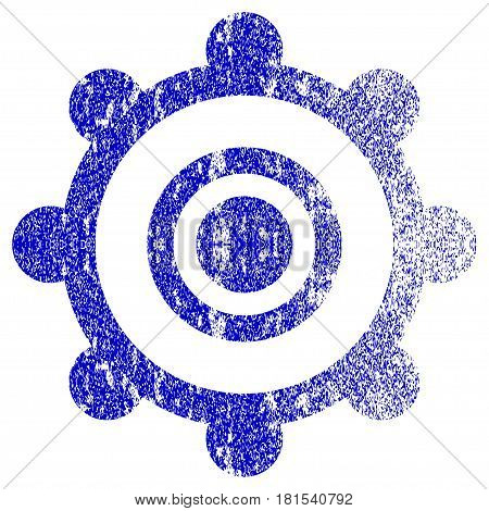 Cog Wheel textured icon for overlay watermark stamps. Blue vectorized texture. Flat vector symbol with dust design. Blue rubber seal stamp imitation.