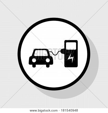 Electric car battery charging sign. Vector. Flat black icon in white circle with shadow at gray background.