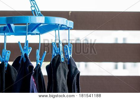 Blue clothes peg or clothes line on outdoor