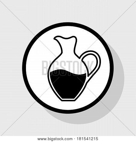Amphora sign. Vector. Flat black icon in white circle with shadow at gray background.