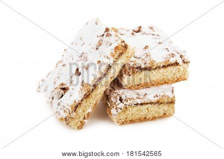Biscuit Cake Decorated With Powdered Sugar