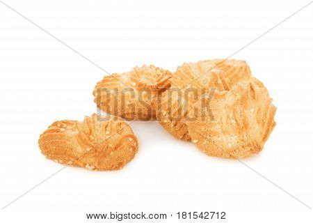 Several Mouthwatering Shortbread Cookies With Sesame Seeds Isolated On White