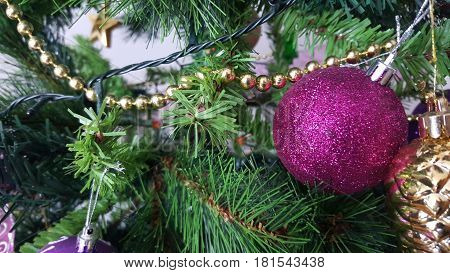Closeup of Christmas tree decorations. Beautiful decorations